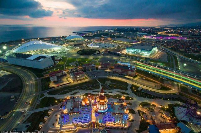 Олимпийский парк в Сочи с высоты птичьего полета.