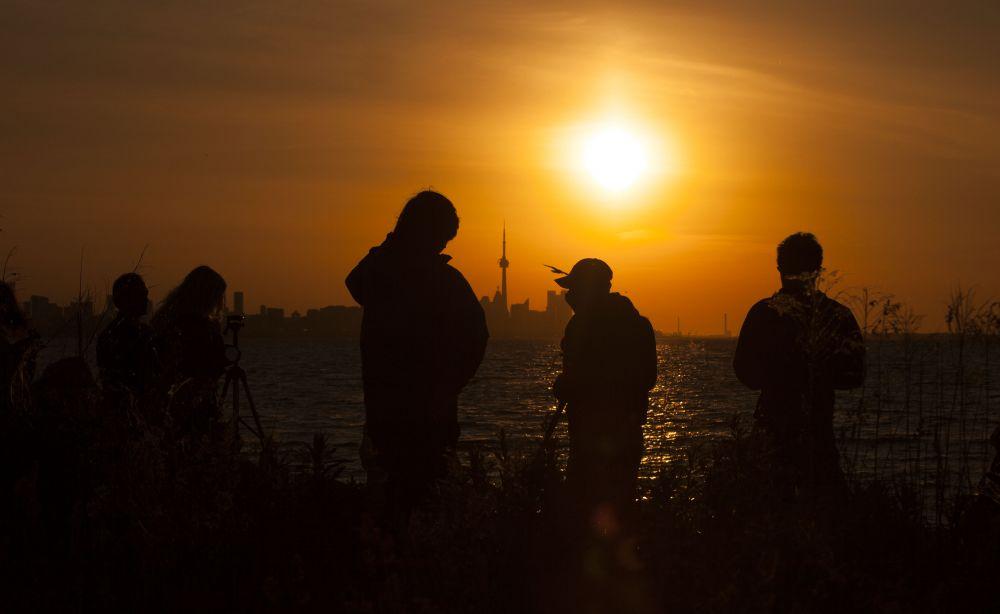 Люди наблюдают солнечное затмение на пляже озера Онтарио в Торонто (Канада)