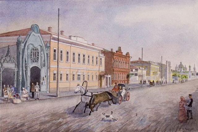 Одна из центральных улиц дореволюционного Челябинска - улица Уфимская. Акварель Ю. Данилова.