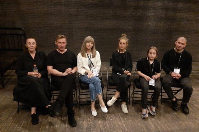 Создатели спектакля на пресс-конференции после показа.