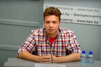 Роман протасевич на брифинге на базе Национального пресс-центра Республики Беларусь.