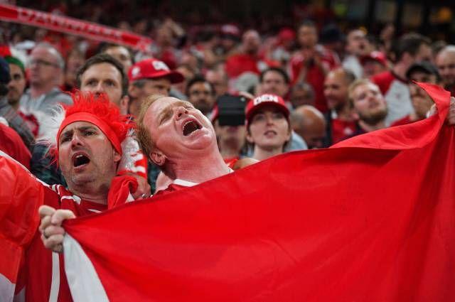 Датские болельщики ликуют.
