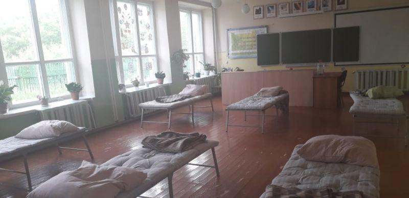 Пункт временного размещения населения в селе Загорная Селитьба на базе местной школы