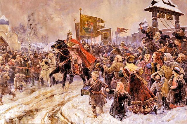 «Въезд Александра Невского в Псков после Ледового побоища». Владимир Серов, 1945 г.