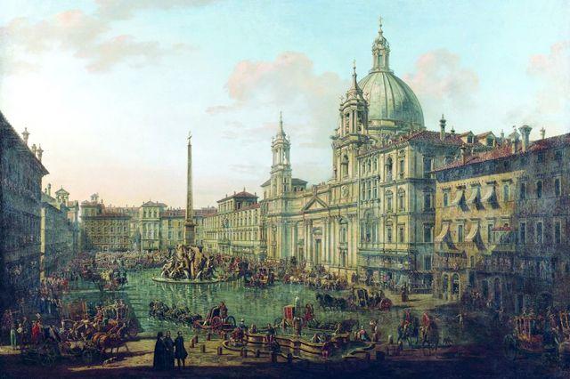 «Площадь Навона в Риме». Художник Бернардо Белотто.