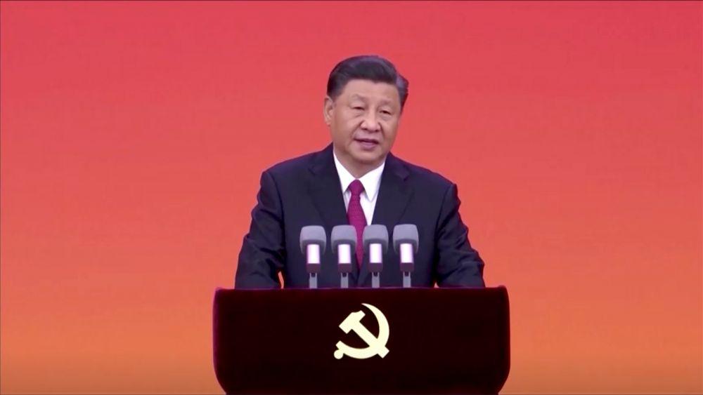 Председатель КНР Си Цзиньпин на церемонии вручения орденов Первого июля членам Коммунистической партии Китая (КПК)