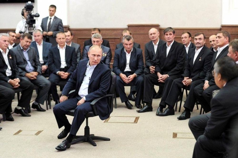 26 августа 2013 г. Встреча с шахтёрами в Кемерове.