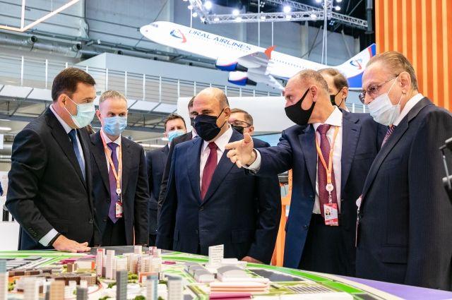 Губернатор Евгений Куйвашев показал премьер-министру Михаилу Мишустину экспозицию Свердловской области.