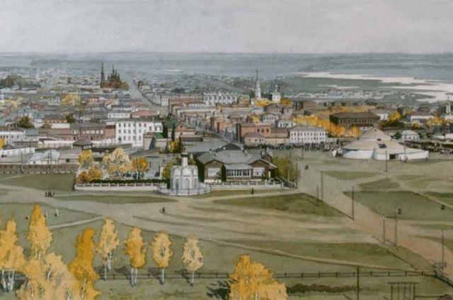 Вид на Южную площадь Челябинска, справа - здание цирка.