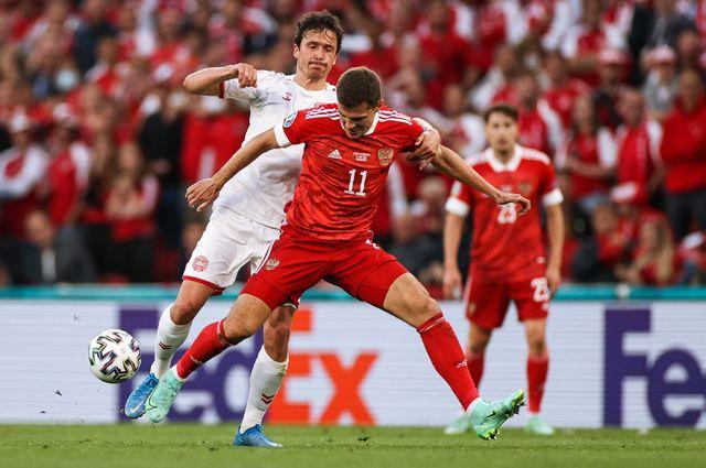 Матч между сборными России и Дании на Евро-2020.