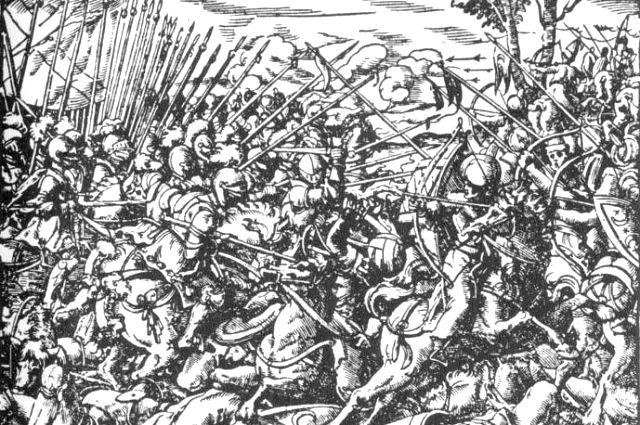 Битва между московитами и новгородцами. Итальянская гравюра.