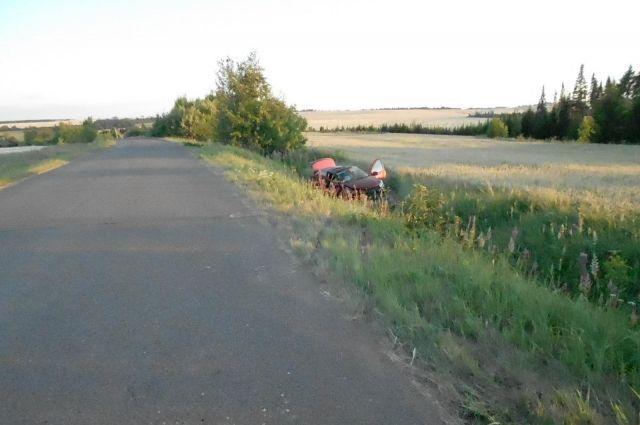 Машина с двумя детьми перевернулась в кювет на трассе в Удмуртии