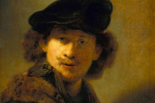 Рембрант, «Автопортрет в берете и отороченном мехом плаще», 1634 г.