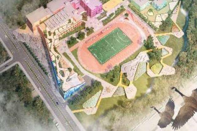 Вид на будущий жилой комплекс - с высоты птичьего полета.