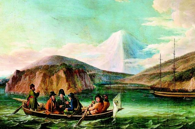 Команда Крузенштерна в Авачинской губе у побережья Камчатки, 1808 г. Картина Фридриха Вейча.