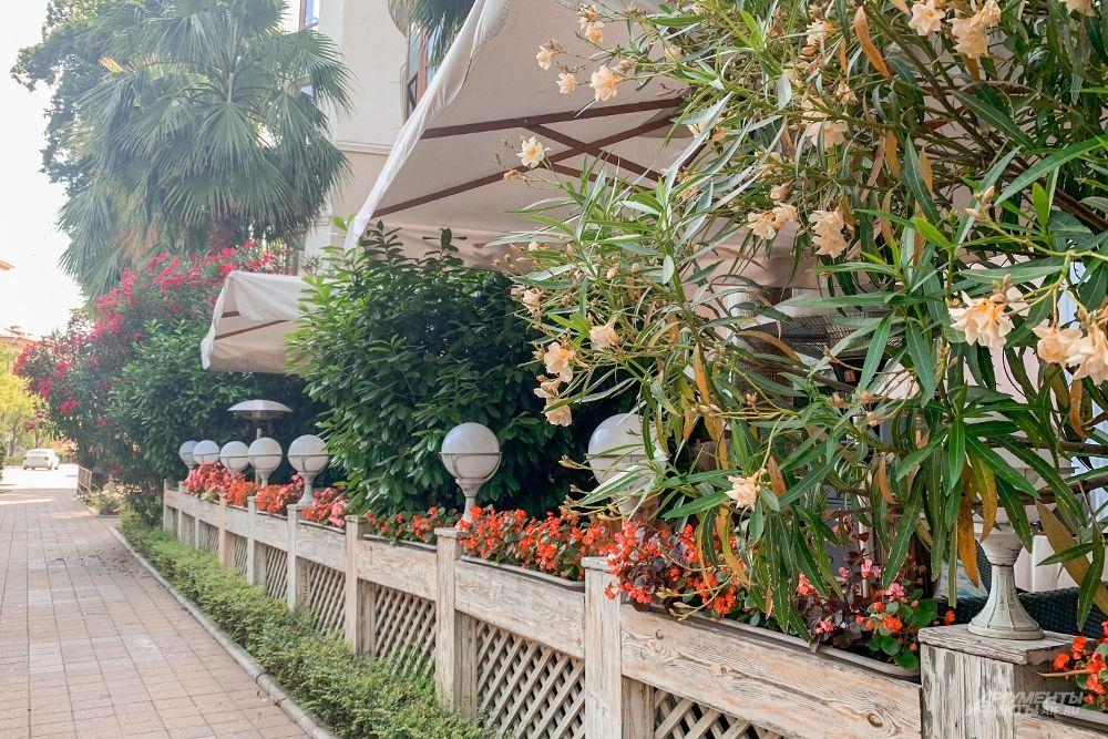 Местные заведения предпочитают украшать свои террасы яркими цветами.