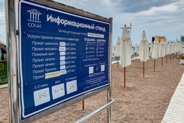 Арендовать шезлонг на сочинском пляже стоит сейчас 500 рублей.