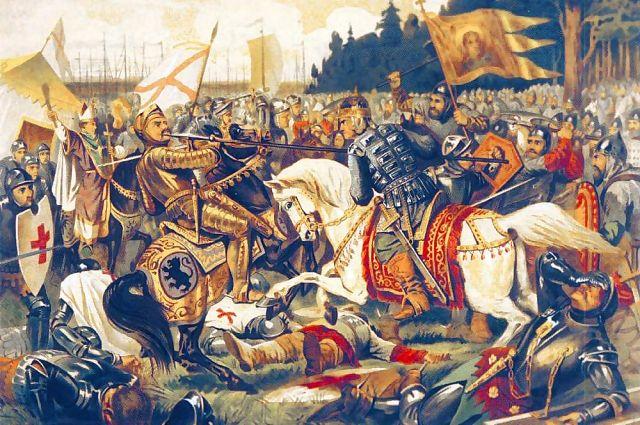 Князь Александр наносит рану ярлу Биргеру.