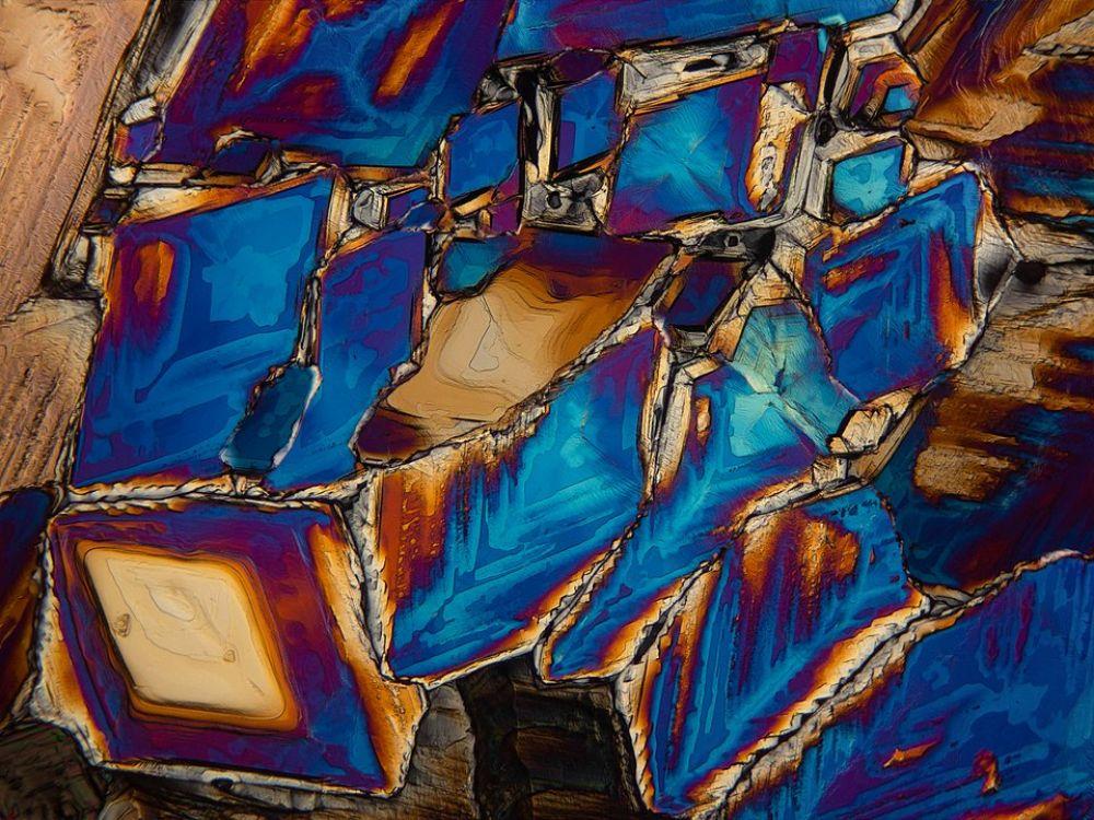 Название: Кристаллы бета-Аланина. Номинация: Микроизображения. Описание: Снимок кристаллов бета-Аланина в поляризованном свете, сделанный через микроскоп с увеличением примерно 100 крат. Автор: Гайнутдинов Булат