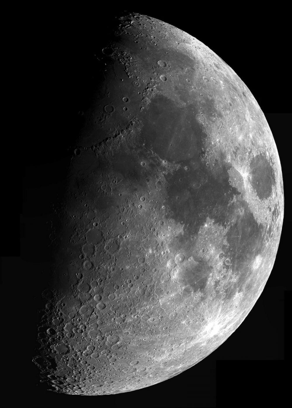 Название: Панорама Луны. Номинация: Космос. Описание: Мозаичное панно Луны в разрешении 4K. Снято телескопом на Sky-Watcher MAK127. Камера Celestron Neximage 5. Автор: Малов Андрей