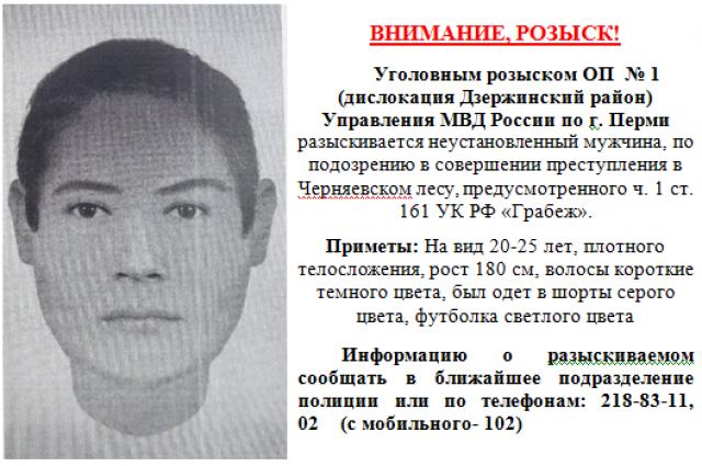 Уголовный розыск просит помочь в поисках мужчины, подозреваемого в нападении на женщину в Черняевском лесу