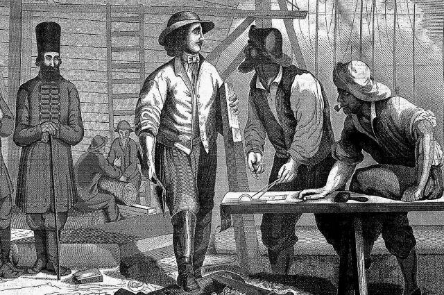 Пётр I в Голландии в 1697 г. поработал плотником на верфях, на- звавшись урядником Преображенского полка Петром Михайловым.