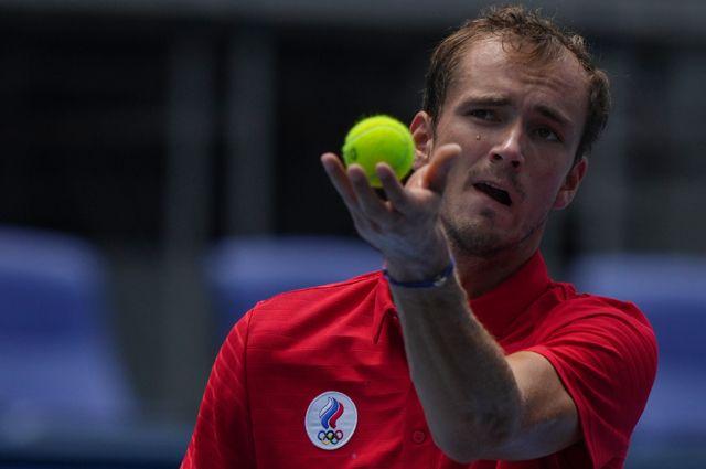 Даниил Медведев в матче 3-го круга мужского одиночного разряда против Фабио Фоньини.