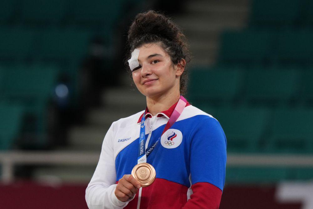 Мадина Таймазова, завоевавшая бронзовую медаль на соревнованиях по дзюдо в весовой категории до 70 кг среди женщин на XXXII летних Олимпийских играх