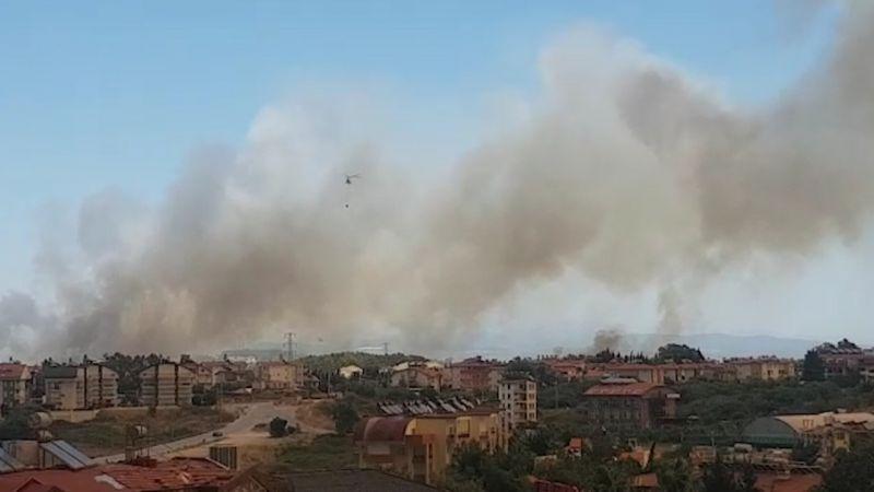 Вид на дым от пожаров из города Сиде