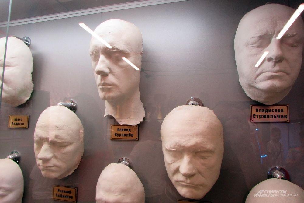 Маски известных актёров для создания грима на Мосфильме.