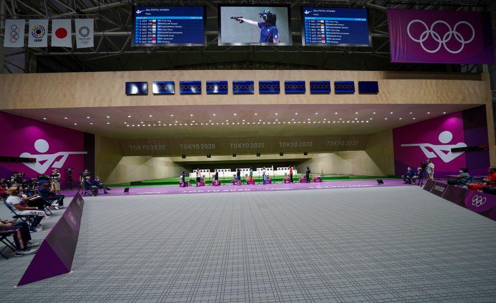 Спортсменки в финале соревнований по стрельбе из пневматического пистолета с 25 метров среди женщин на XXXII летних Олимпийских играх в Токио