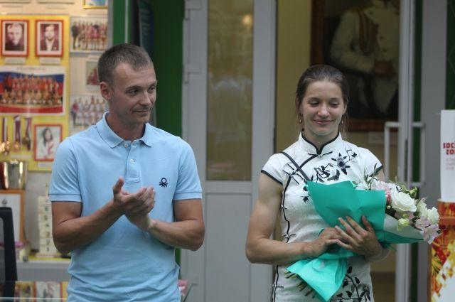 Наталья Афремова со своим тренером Романом Кирсановым.