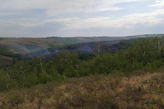 В заповеднике Шайтан-Тау в Оренбуржье из-за удара молнии начался пожар.