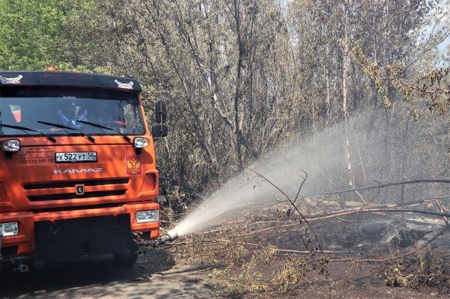 В Кушкулях пожарные тушат возгорание в лесополосе.
