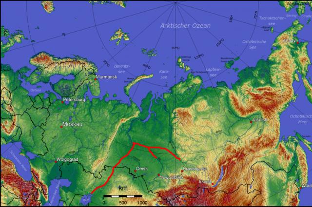 Схема одного из основных предлагаемых маршрутов переброски воды (через канал Енисей-Обь, вниз по Оби, вверх по Иртышу и Ишиму, а затем через канал в бассейн Аральского моря). План включал другие каналы (не показаны), чтобы отвести воду дальше на юг.