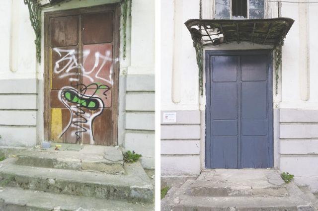 Вот такой результат работы молодых таганрожцев: слева стены города до уборки, справа – после.