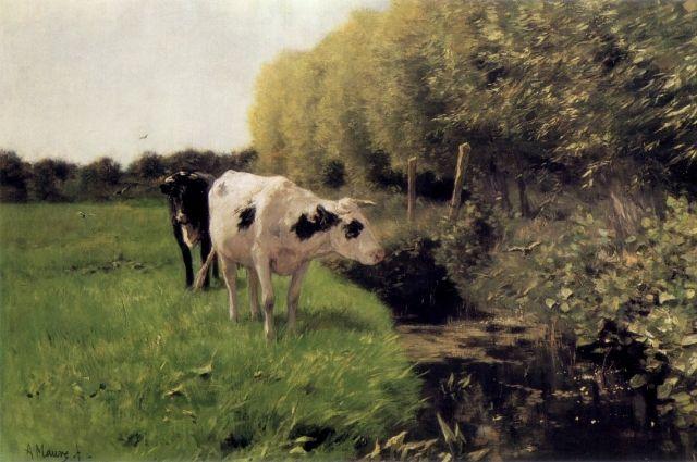 Антон Мауве. Коровы на пастибище.
