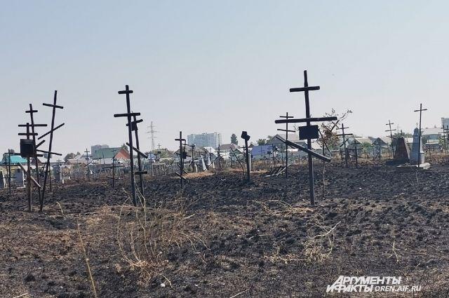 В Оренбурге могилы ветеранов Великой Отечественной войны уничтожил огонь.