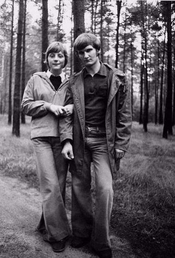 Меркель с мужем Ульрихом, 1977 год