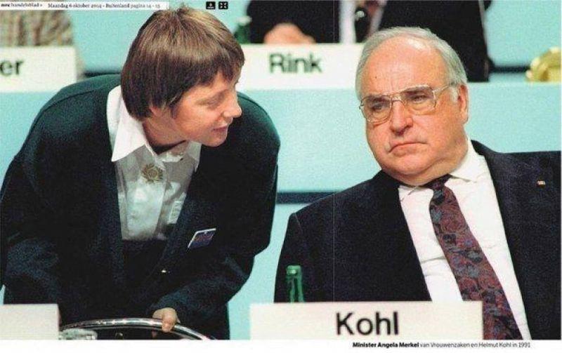 Канцлер ФРГ Гельмут Коль и уполномоченная по делам женщин в Германии Ангела Меркель, 1991 год