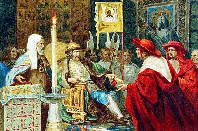 Папские легаты сообщают князю Александру, что именно они будут главными советниками русских князей. Фрагменты картины.