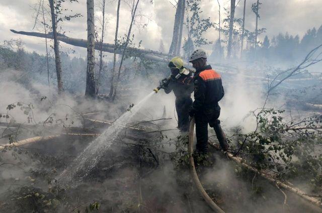 Уральские огнеборцы воюют с лесным пожаром под Первоуральском.