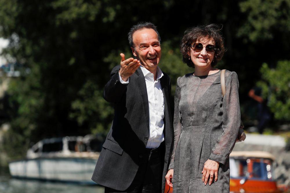 Актёр Роберто Бениньи и его супруга Николетта Браски