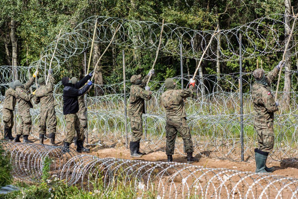 Польские военные устанавливают забор из колючей проволоки на белорусско-польской границе