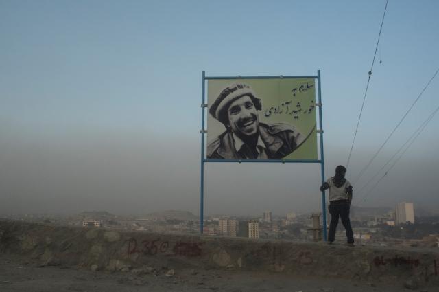 Портрет Ахмад Шаха Масуда на одной из улиц в Кабуле.