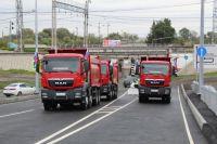 Первыми по открывшемуся мосту проехали грузовики