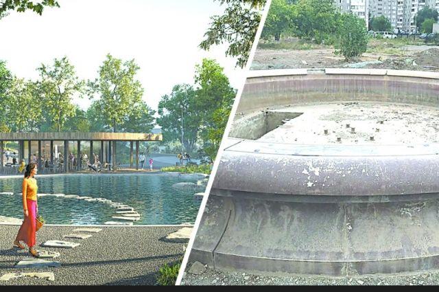 Проект молодежной аллеи в Новотроицке - слева. Справа - реальность на полпути к совершенству.