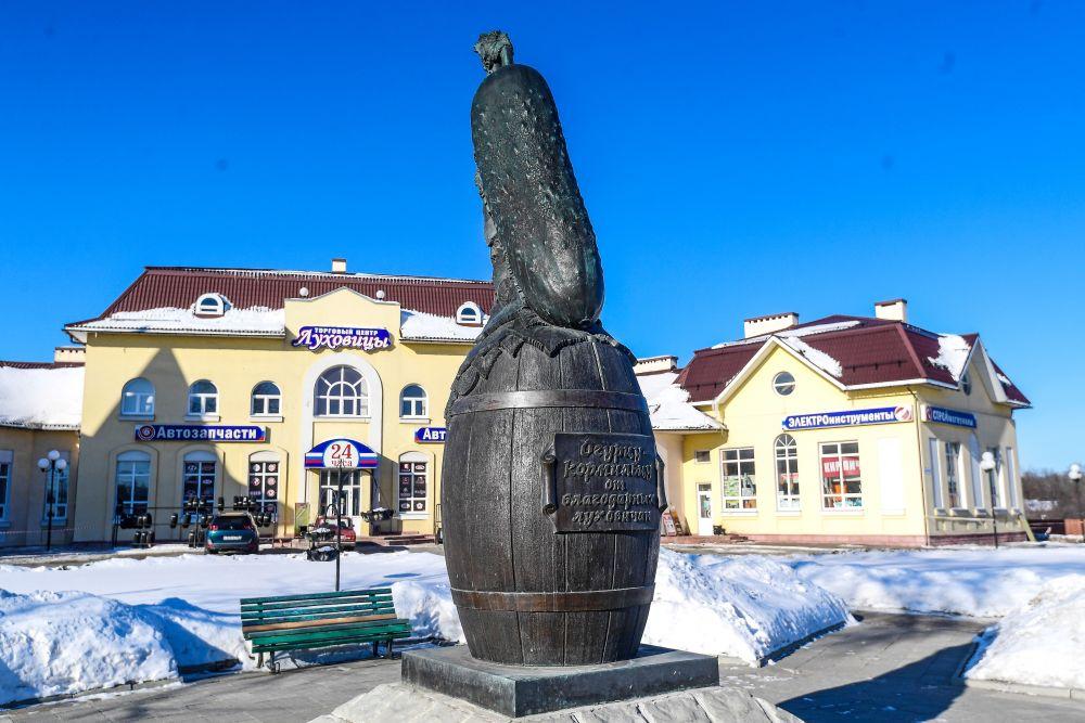 Памятник «Огурцу-кормильцу» в Луховицах. В 2007 году Луховицы отмечали свой первый серьезный юбилей – 50 лет со дня основания. В рамках празднования данного события был открыт оригинальный памятник огурцу