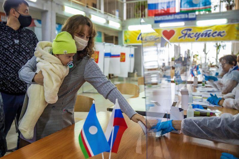 Во время голосования на выборах депутатов Государственной Думы РФ на избирательном участке №779 в Якутске