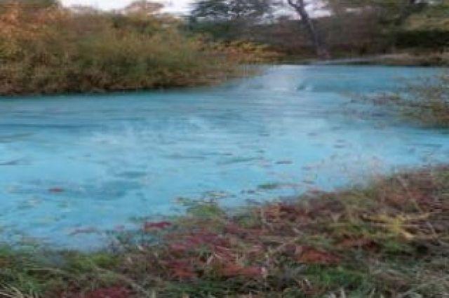 В Удмуртии река окрасилась в голубой цвет из-за неизвестного вещества